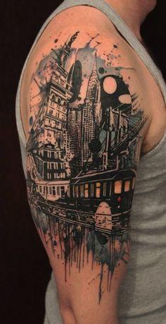 city on arm by Gene Coffey | tattoo artist – Brooklyn NY, USA