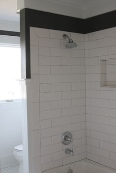 wood floors in bathrooms subway tile wainscot transition design bath 21696