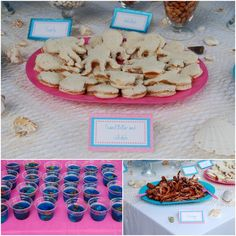 This website has the BEST ideas for a mermaid party! Food: goldfish, saltwater taffy, edible chocolate pearls, peanut butter and jellyfish sandwiches! Amazing decoration and activity ideas. I LOVE this site for Zoey's birthday party inspiration.