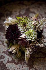 Succulent bridal bouquet- succulents, dahlias, lilies and dusty miller.