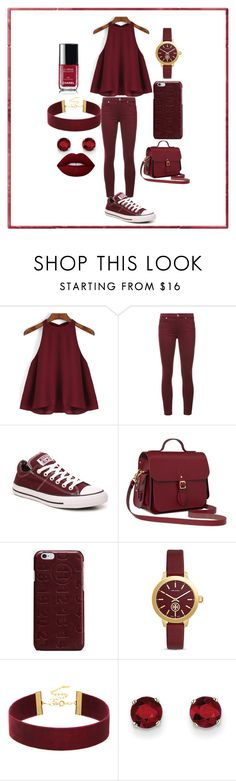 """burgundy look"" by christmaslist87 on Polyvore featuring 7 For All Mankind, Converse, The Cambridge Satchel Company, Maison Margiela, Tory Burch, Kevin Jewelers and Lime Crime"