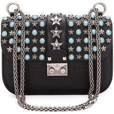 Valentino Small Lock Star-Studded Small Shoulder Bag (£2,270) ❤ liked on Polyvore featuring bags, handbags, shoulder bags, clutches, black, turquoise handbags, chain strap handbags, turquoise purse, chain strap purse and valentino handbags