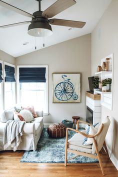 Sun Room Makeover With Diy Electric Fireplace Mantle Nesting With Grace Blue And White Coastal Sunroom Makeover With A Diy Shiplap Fireplace Mantle Shiplap Fireplace, Fireplace Mantle, Fireplace Surrounds, Simple Fireplace, Cozy Apartment Decor, Colorful Apartment, Best Neutral Paint Colors, Electric Fireplace, Small Space Living