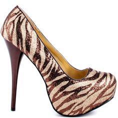 Oh yeah!! Keep up in the Kait by Veda Soul.  This style features a zesty and glittery zebra printed upper in bronze and gold.  A 5 1/2 inch stiletto heel and 3/4 inch platform completes this awe inspiring party pump.