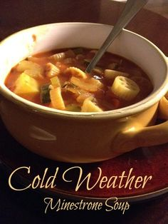 Minestrone Soup; perfect for fall/winter. Healthy crockpot recipe! Easy vegetarian soup.