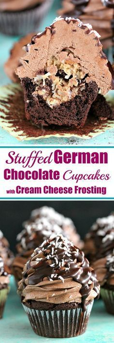 Stuffed German Chocolate Cupcakes with Cream Cheese Frosting recipe! Soft & chocolaty cupcakes stuffed with a coconut-pecan filling and topped with chocolate cream cheese frosting! Brownie Desserts, Oreo Dessert, Mini Desserts, Just Desserts, Delicious Desserts, Plated Desserts, French Desserts, German Chocolate Cupcakes, Chocolate Recipes