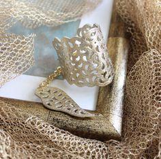Купить Кожаный браслет Золотистое кружево - золотой, кожаный браслет, Елена Кожевникова, браслет кожаный
