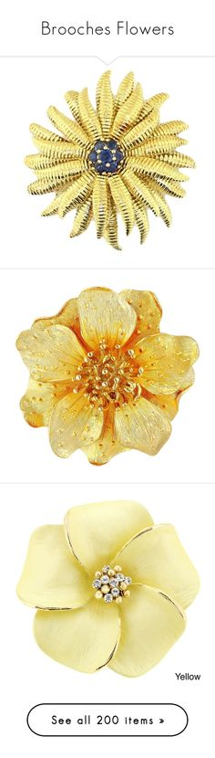 """http://rubies.work/0032-emerald-pendant/ """"Brooches Flowers"""" by ywett01 ❤ liked on Polyvore featuring jewelry, brooches, accessories, yellow gold, blue brooch, blue sapphire jewelry, yellow gold jewelry, gold jewelry, flower jewelry and brooch"""
