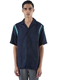 Men's Shirts - Clothing | Discover Now LN-CC - Striped Jersey Trim Short Sleeved Shirt