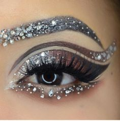 Sparkling Holiday Eye Makeup Ideas With Glitter You Should Try; Holiday Makeup Looks; Makeup Goals, Makeup Inspo, Makeup Inspiration, Makeup Ideas, Makeup Tips, Rhinestone Makeup, Glitter Makeup, Sparkle Makeup, Silver Makeup