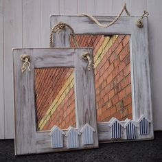 beach hut mirror with rope by giddy kipper | notonthehighstreet.com/ wooden house cutouts ,painted w/stripes