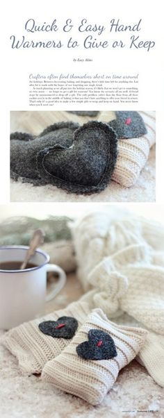 Find Lucy Akins' DIY tutorial for these darling hand warmers in Somerset Life Autumn Diy Craft Projects, Fun Crafts, Sewing Projects, Diy Gifts To Make, Crafty Craft, Crafting, Recycled Sweaters, Textiles, Valentine's Day Diy