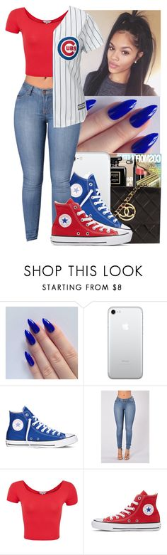 """""""❣️💙❤️💙❣️"""" by jasmine1164 ❤ liked on Polyvore featuring Converse, GURU and Majestic"""