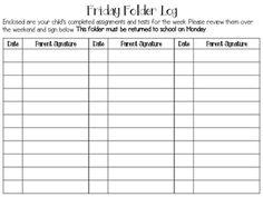 Free - Friday folder parent signature log                              …