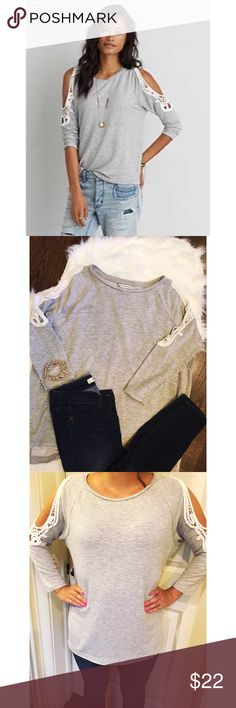 AEO cold shoulder sweatshirt Gray Very soft sexy Terry . Very comfortable more of a loose fit . Please let me know if you have any questions. American Eagle Outfitters Tops Sweatshirts & Hoodies