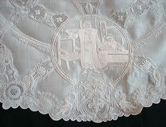 Maria Niforos - Fine Antique Lace, Linens & Textiles : Antique Linen # LI-164 Magnificent Appenzel Tablecloth w/ Figurals & Cherubs