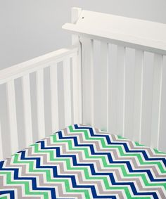Kelly Green & Midnight Blue Zigzag Minky Fitted Crib Sheet by Lolly Gags #zulily #zulilyfinds