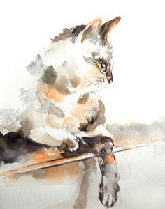 Cat Watercolor Painting Art Print, Cat Art, Cat Painting, Watercolour Art, Wall Art Decor