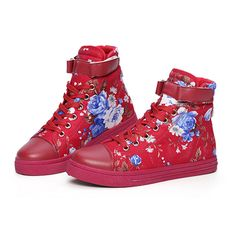 Fashion brand hightop shoes ladies High women high top sneakers  Floral  Breathable lace Retro canvas Velcro shoes XZFG6