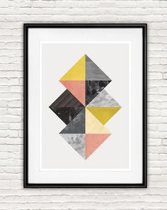 Stylish geometric abstract print in nordic style with rich texturing made of watercolor, stone and wood textures. Great wall decor for your living room,