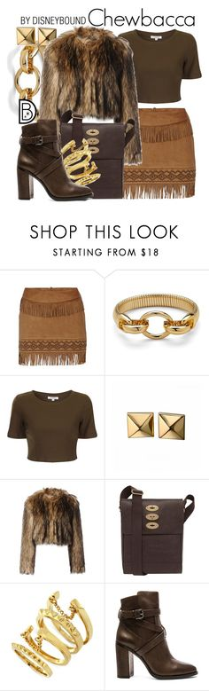 """""""Chewbacca"""" by leslieakay ❤ liked on Polyvore featuring Morgan, Diane Von Furstenberg, Glamorous, Waterford, RED Valentino, Mulberry, Vince Camuto, disney, disneybound and starwars"""