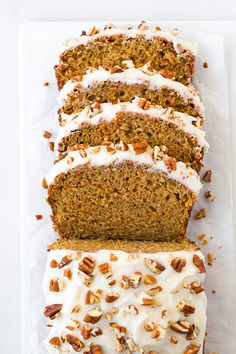 Carrot Zucchini Bread with optional Cream Cheese Frosting - (optional? I thought carrot cake was the delivery system for cream cheese frosting!) - this is oh so delicious! Tastes just like carrot cake in bread form. Just Desserts, Delicious Desserts, Dessert Recipes, Yummy Food, Frosting Recipes, Bon Dessert, Dessert Bread, Carrot Zucchini Bread, Carrot Cake