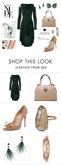 """""""Nude and green trend"""" by agnesmakoni ❤ liked on Polyvore featuring Christian Louboutin, Suzanne Kalan, Lizzie Fortunato, Skagen and Dolce&Gabbana"""