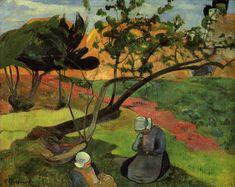 "artist-gauguin: ""Landscape with two breton women by Paul Gauguin Size: 72.4x91.4 cm Medium: oil on canvas"""