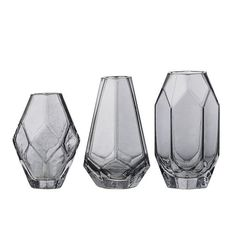 With or without some pretty blooms, these glass vases offer a fresh touch to your living space. Set includes three vases.  Measure: 3 - 3-1/2 inches high.