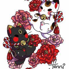 Lucky cats hope everyone is having a good day ❤❤ . Cute Kawaii Animals, Cute Animal Drawings Kawaii, Kawaii Doodles, Kawaii Art, Chibi Cat, Anime Chibi, Wallpaper Kawaii, Japanese Cat, Japon Illustration