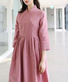 린넨 철릭원피스_핑크_TG019030018 Muslim Fashion, Modest Fashion, Korean Fashion, Fashion Dresses, Linen Dresses, Modest Dresses, Short Dresses, Mullet Dress, Korea Dress