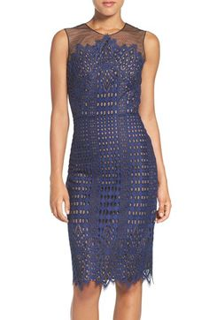 BCBGMAXAZRIA 'Belila' Lace Midi Dress at Nordstrom.com. A two-tone palette brings out the Art Deco patterning of a pencil-cut statement sheath traced in angular eyelash fringe at the yoke and hemline.