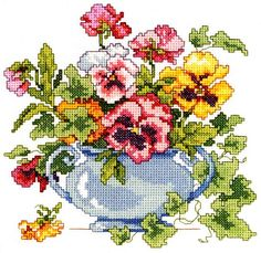 """Counted Cross Stitch Kit 7"""" x 7"""" PANSIES"""