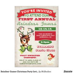 Shop Reindeer Games Christmas Party Invitation created by McBooboo. Personalize it with photos & text or purchase as is! Reindeer Games, Vintage Christmas Party, Holiday Fun, Christmas Holiday, Reindeer Christmas, Holiday Festival, Rustic Christmas, White Christmas, Vintage Invitations
