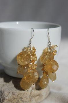 Faceted Natural Citrine Gemstone Dangle Cluster Earrings $28