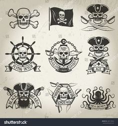 Pirate logo set. Jolly Roger, black flag, crossed sabers, sea demon, skull in cocked hat. Logos can be easily disassembled. Texture and backgrounds on separate layer and can be removed.