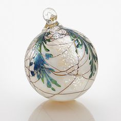 "'Evergreen Heirloom' Blown Art-Glass Ornament by Bryce Dimitruk | 3.25""Dia 