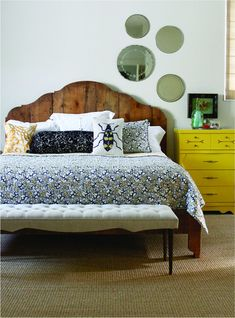 red interiors - eclectic - bedroom - austin - red - modern lines . vintage finds