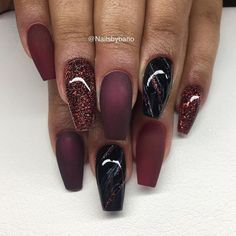 "1,587 Likes, 17 Comments - Bano Betweni (@nailsbybano) on Instagram: ""Fria händer; ""Black cherry"" , ""Vamp red"" , ""black"" /marmor & Egenblandat glitter ✨"""