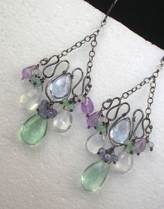 Love this form. Pretty colors wire earrings