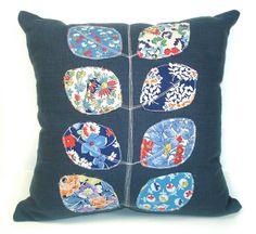 Vintage Fabric Applique Leaf Pillow Denim Blue by RobinsEggBlue, $45.00