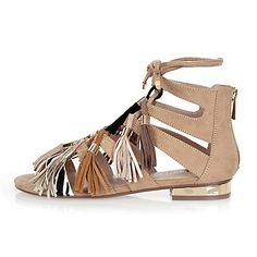 Beige tassel lace-up sandals $50.00