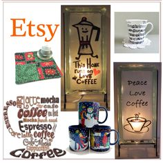 Fashion set Coffee Lover Gifts on ETSY created via Etsy Handmade, Handmade Crafts, Handmade Items, Espresso Latte, Gift Of Time, Music Score, Unusual Art, Coffee Lover Gifts, Spring Time