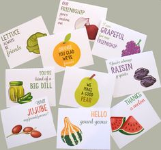 Fruit and Vegetable Friendship Puns -- Set of 10 Greeting Cards