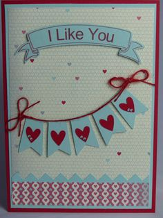 Included is one handmade Valentines Day card featuring a banner of hearts and the greeting I Like You. Use coupon code PIN12 to save 12% now!