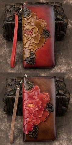 quality CowhideStyle:Retro/Vintage/LeisureFashion Element:Embossed Peony/FlowerCapacity:Can hold Iphone/inner zipper pocket Wallets For Women Leather, Long Wallet, Clutch Wallet, Peony, Retro Vintage, 3d, Purses, Flower, Bags