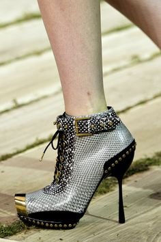 Alexander McQueen Silver Studded Stiletto Heels Bootie with Gold Cap Spring 2011 #McQueen #Shoes