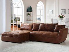 Canapé d\'angle droit 3/4 places en microsuède marron | Salons ...