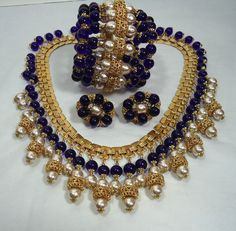 "Miriam Haskell Parure Baroque Pearls Cobalt Glass. Miriam Haskell, ""the Queen of Costume."""