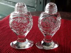 Vintage Elegant Clear Crystal Bohemia Glass Shakers